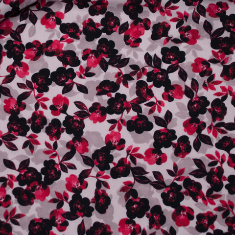 Burgundy and Grey Floral Poly Crepe