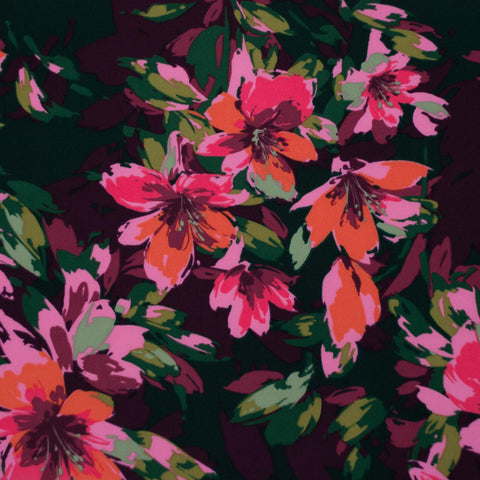 Pink, Green and Burgundy Floral Crepe