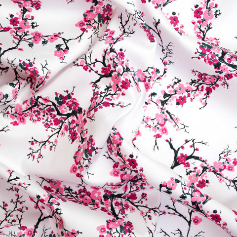 Cherry Blossoms Lightweight Cotton Sateen