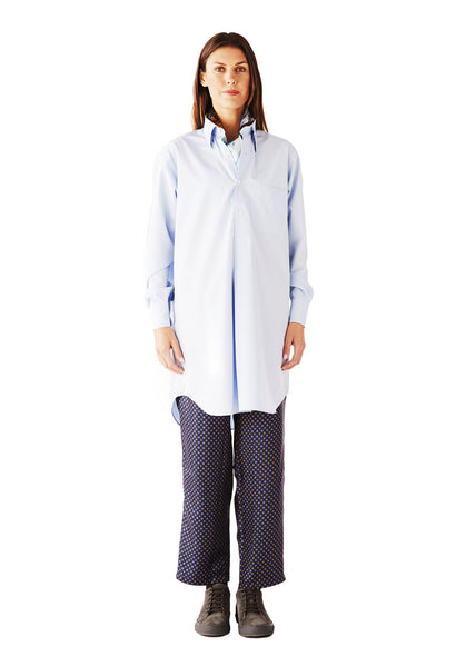 ALL OVER THE WORLD shirt SUPERFINE POPLIN OFFICE BLUE