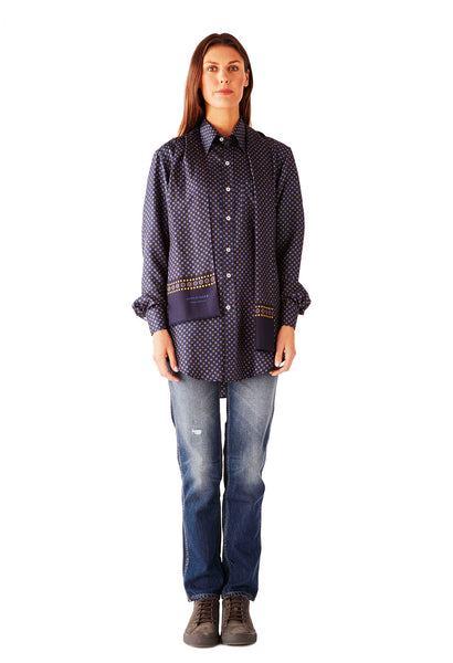 CASUAL SHIRT LAKE COMO SILK NAVY