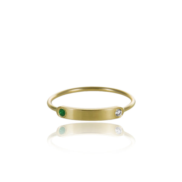 Mini • Signet • Gold • Emerald • Diamond