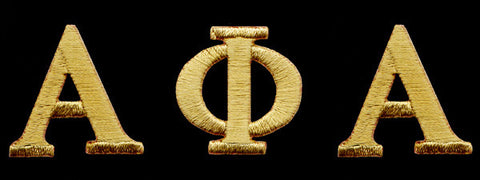 Alpha Gold Letter Set Patches 1 Inch