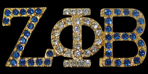 Zeta Gold Austrian Blue and Crystal Pin