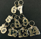 Alpha Single Number Keychain