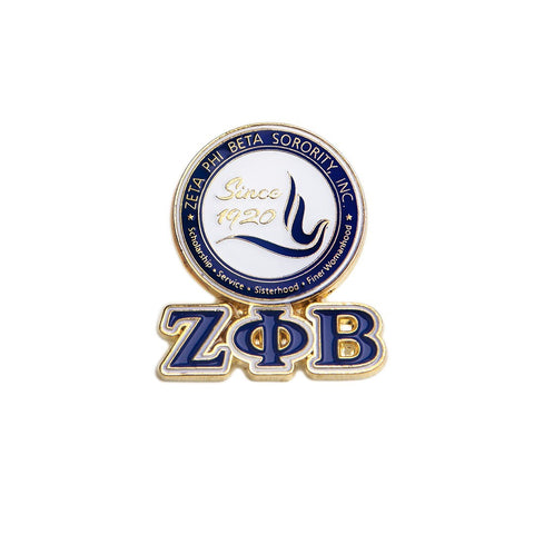 Zeta 3-D Shield Pin w/ Letters