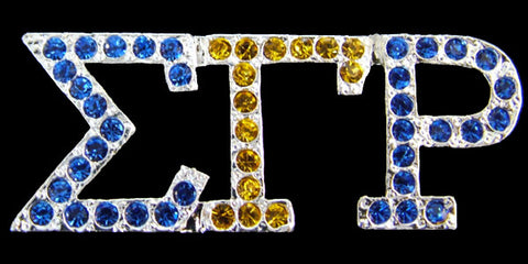SGRho Silver Austrian B and Y Crystal Pin