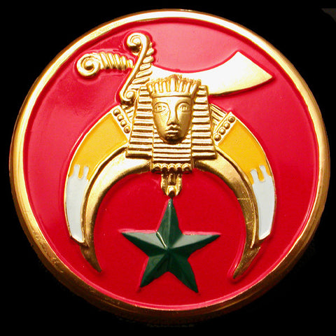 Shriner Red Round Auto Emblem