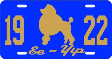 SGRho 1922 Poodle Call Plate Royal/Gold