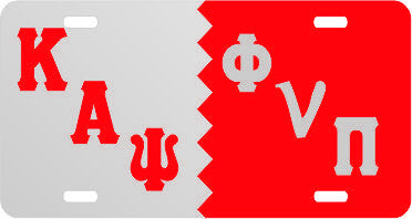 Kappa Phi V PI Split Tag Silver/Red