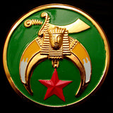 Shriner Green Round Auto Emblem