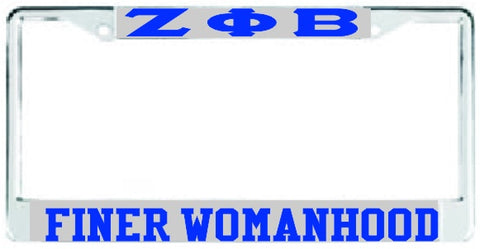 Zeta Finer Womanhood Auto Frame Silver/Royal