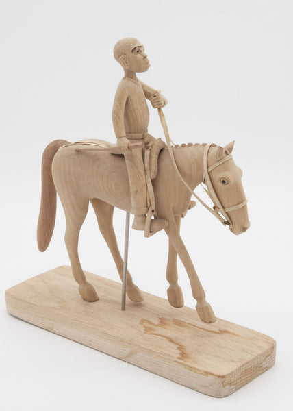 Horse and Rider Carving on stand