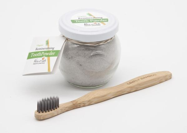 This is a bamboo toothbrush for kids with organic tooth powder. The toothbrush is made with biodegradable bristles.