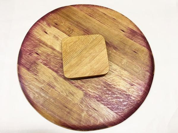 This is a lazy susan without condiments. This wooden turntable is made from recycled oak barrels.