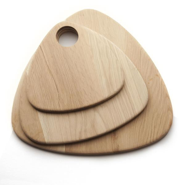 This is a picture displaying 3 wooden serving boards, available in small, medium and large. They are made from oak.