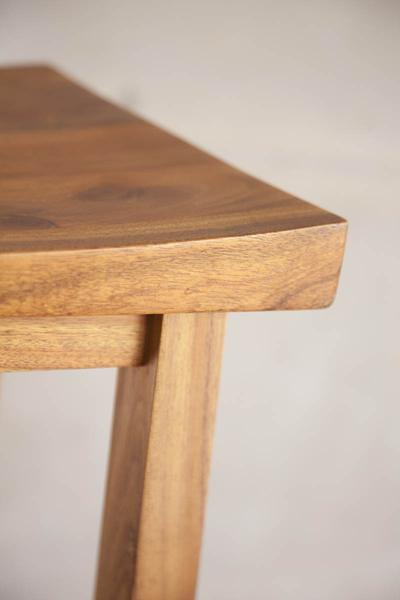 This is a close up of the edge corner of a bar chair. These bar chairs are made from blackwood. The height can be customised to fit into most spaces, including kitchens.
