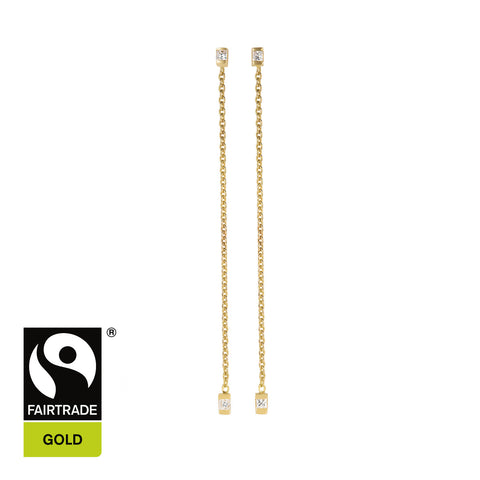 18ct Fairtrade Gold Chain Earrings with Diamonds - Parisi Jewellery  - 1