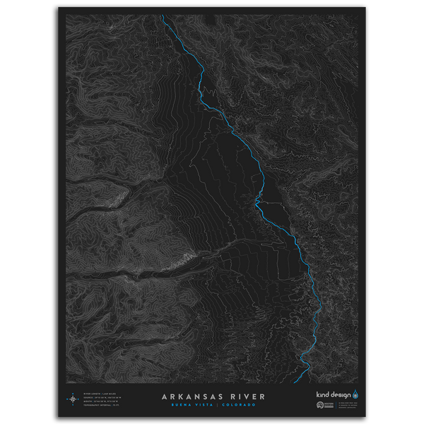 ARKANSAS RIVER TOPO MAP - BUENA VISTA, CO