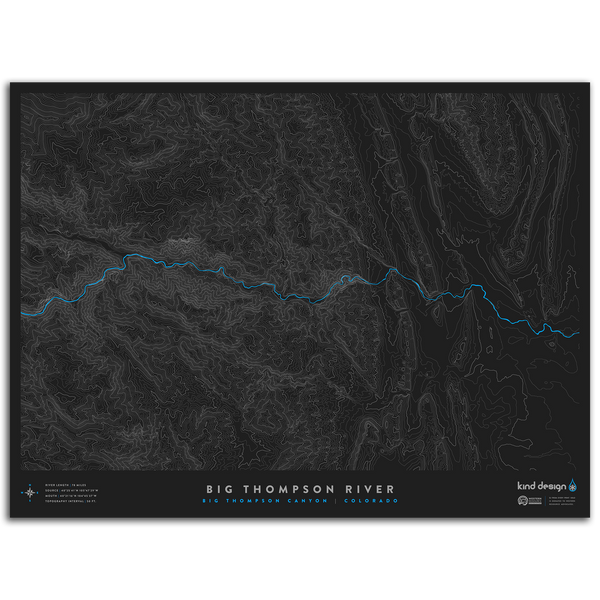 BIG THOMPSON RIVER TOPO MAP - BIG THOMPSON CANYON, CO