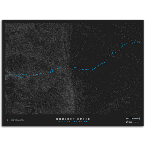 BOULDER CREEK TOPO MAP - BOULDER, CO