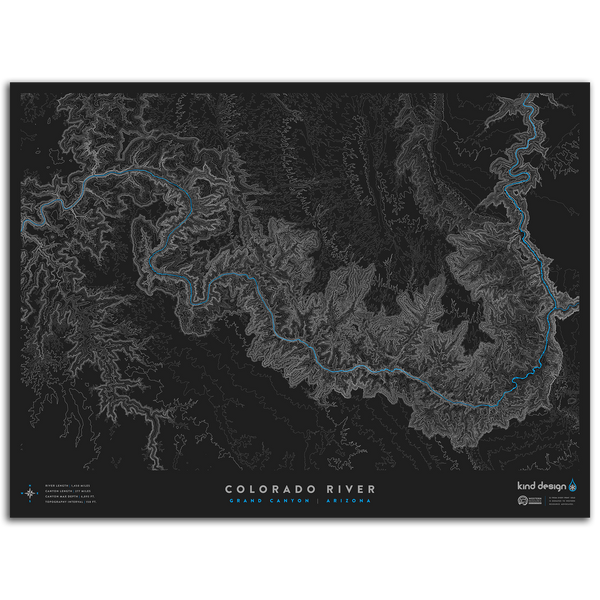 COLORADO RIVER TOPO MAP - GRAND CANYON, AZ