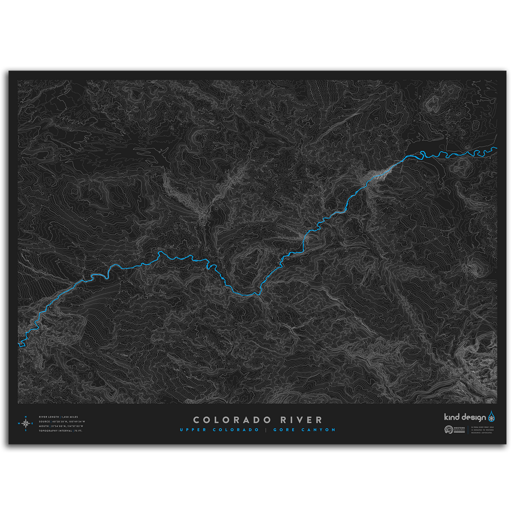 COLORADO RIVER TOPO MAP - UPPER COLORADO / GORE CANYON