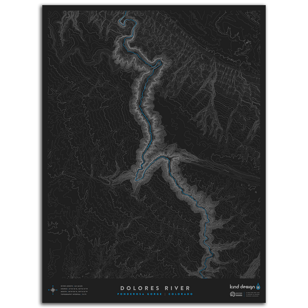 DOLORES RIVER TOPO MAP - PONDEROSA GORGE, CO