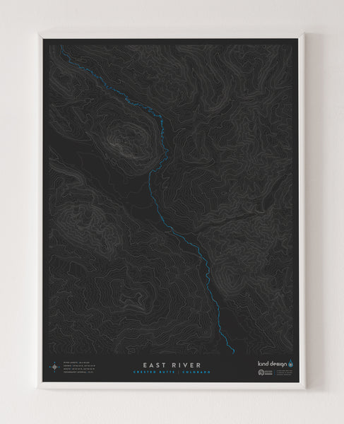 EAST RIVER TOPO MAP - CRESTED BUTTE, CO