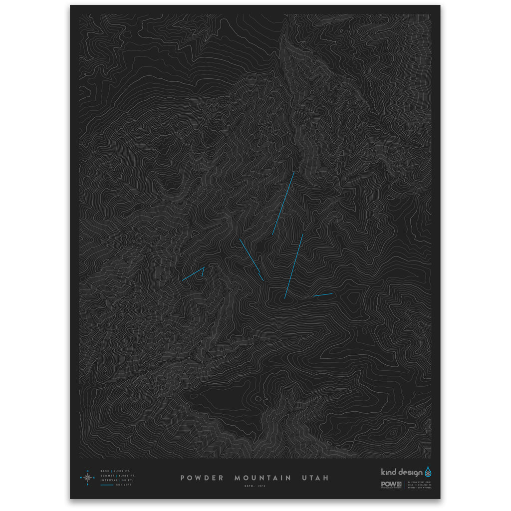 POWDER MOUNTAIN UTAH - TOPO MAP