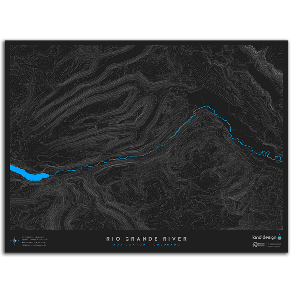 RIO GRANDE RIVER TOPO MAP - BOX CANYON, CO