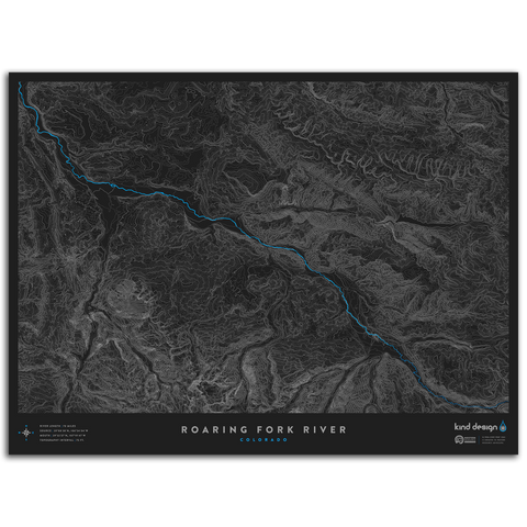 ROARING FORK RIVER TOPO MAP - COLORADO