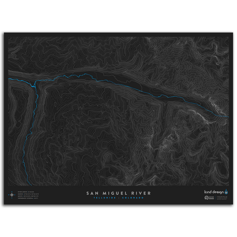 SAN MIGUEL RIVER TOPO MAP - TELLURIDE, CO