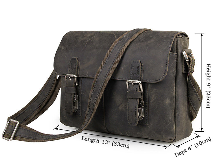 Vintage Calf Leather Messenger Bag - Dark Brown