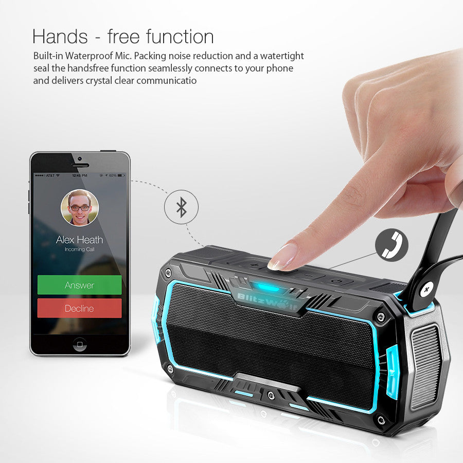 BlitzWolf® BW-F3 IP65 Waterproof Outdoor Hands-Free Portable 2*5W Wireless Bluetooth Speaker