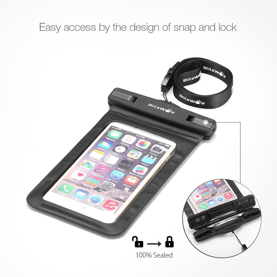 BlitzWolf® BW-WB1 Universal IPX8 Waterproof Case Waterproof Bag for  Up To 5.5 Inch Smartphones
