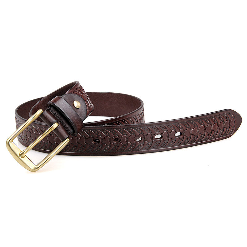 Handmade Vegetable Tanned Italian Leather Belt One Size - USLB015Q