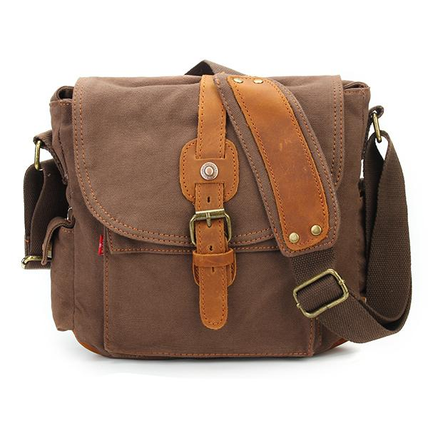 Classic Canvas and Leather Messenger Bag