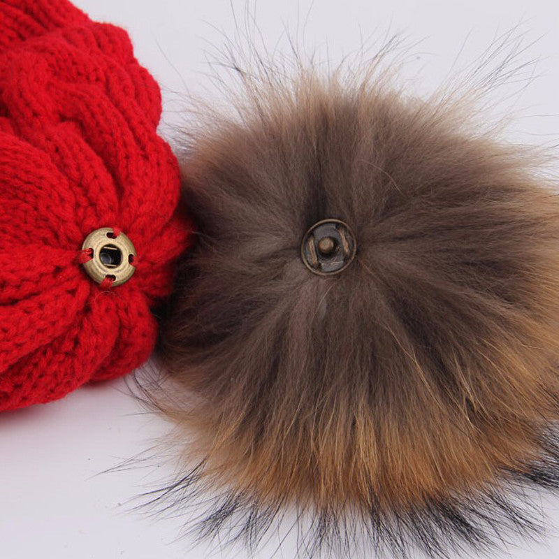 Fur Pom Pom Women's Winter Beanie Hat