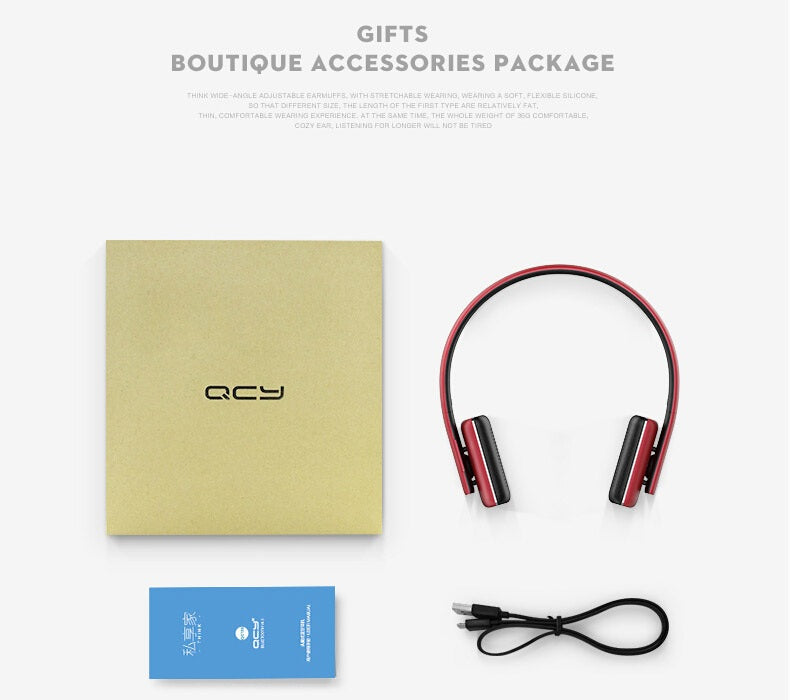 QCY 50 Adjustable Wireless Bluetooth 4.1 Dynamic Noise Cancelling Stereo Headphone with Mic