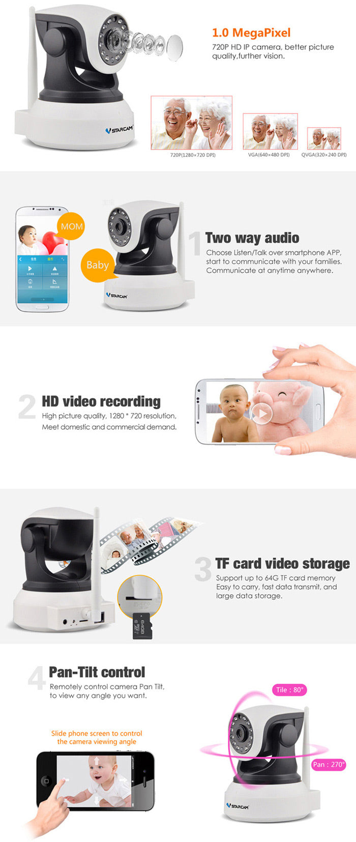 VStarcam C7824WIP HD 720P 1.0MP Plug-and-play IP WiFi Camera ONVIF2.0 Multi Stream for Home Security