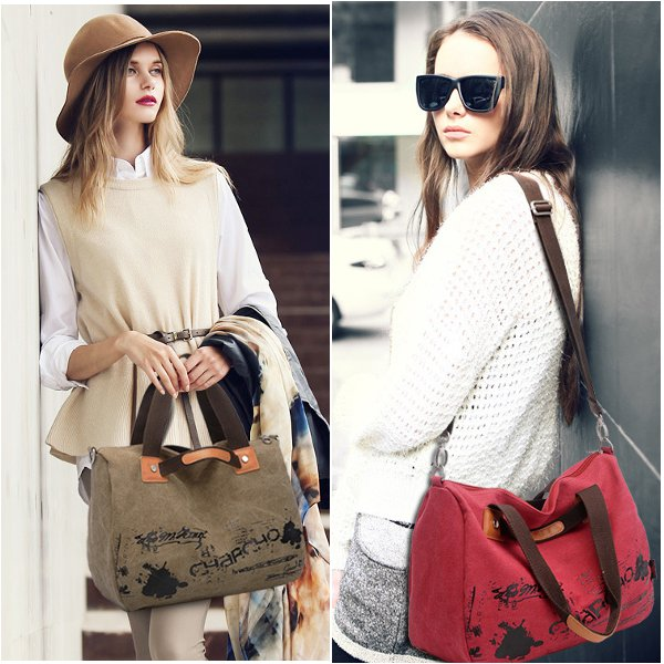 Graffiti Canvas Handbag Shoulder Bag Cross Body Bag