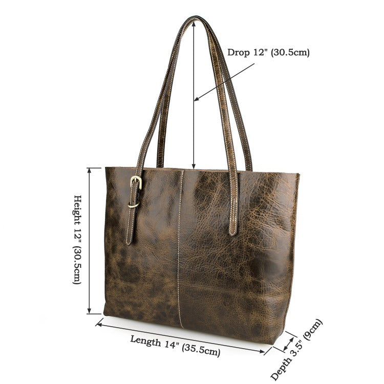 'Agnes' Genuine Leather Tote Bag