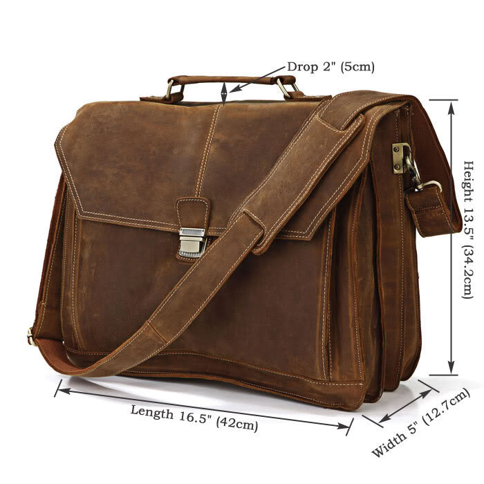 City Leather Laptop Briefcase