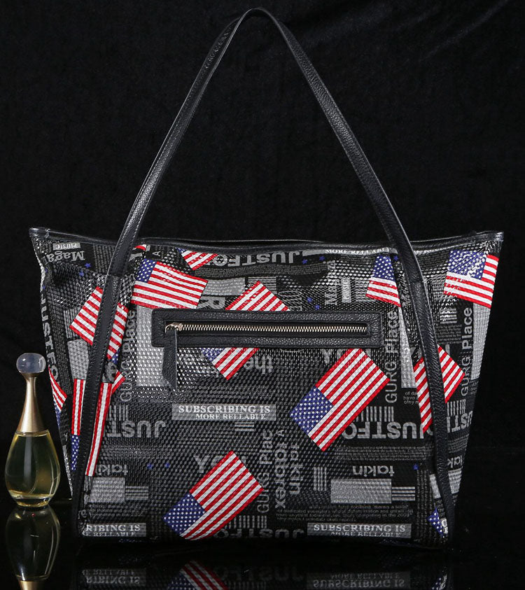 'American Dream' Leather Printed Tote Bag