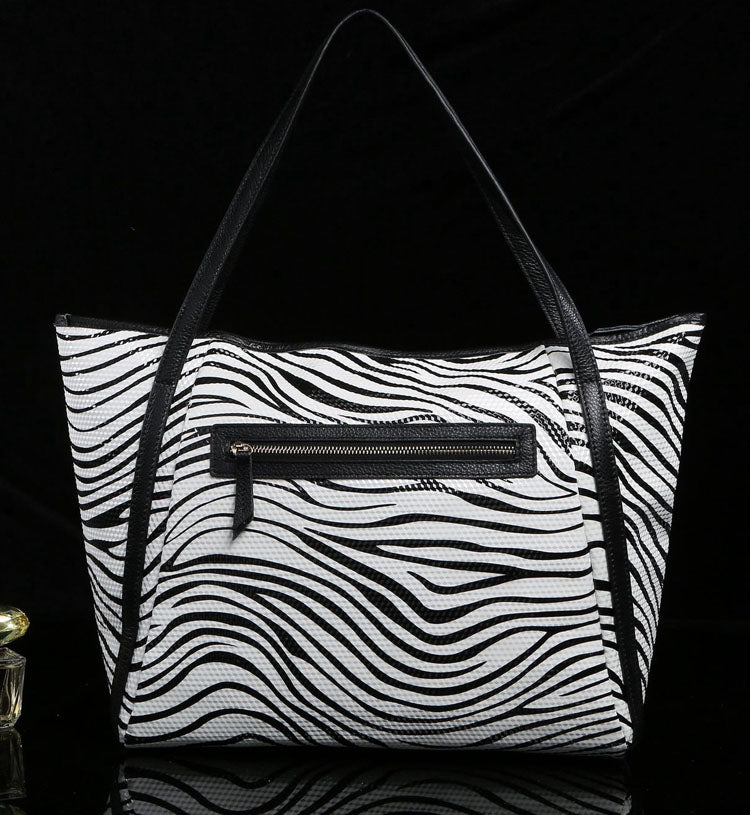 Zebra Print Leather Tote Bag - White