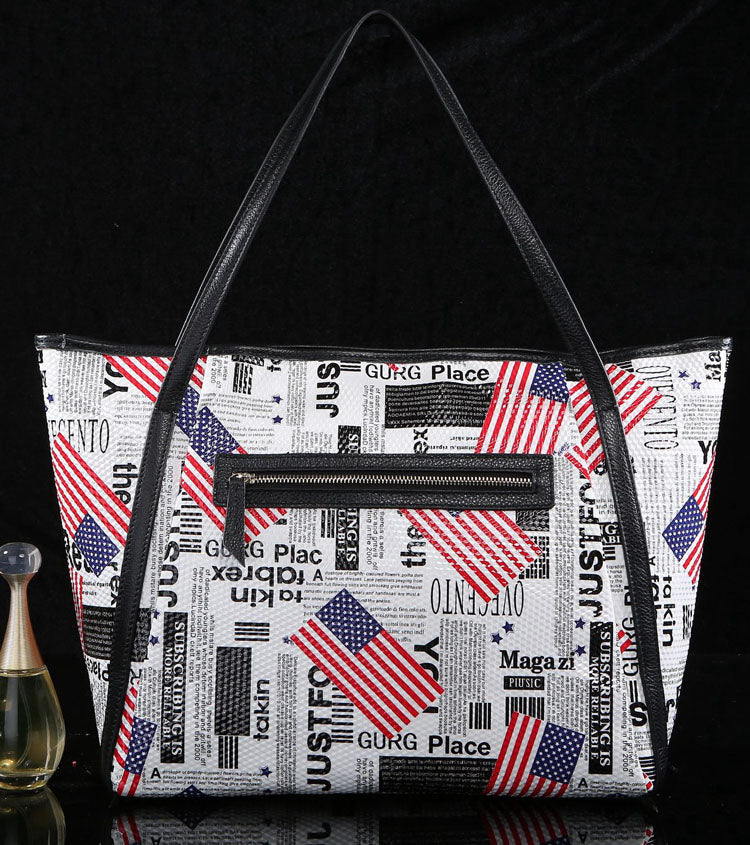 'American Dream' Leather Printed Tote Bag - White
