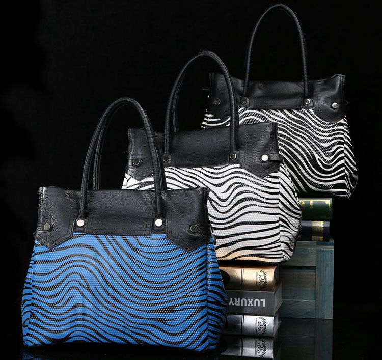 Zebra Print Leather Tote Bag