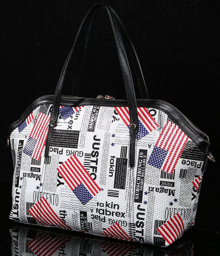 'American Dream' Large Leather Zip-Top Printed Tote Bag - White