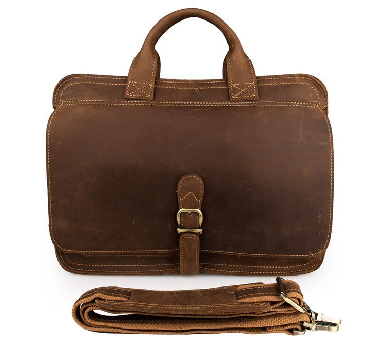 """Englaland"" Handmade Lawyers Leather Briefcase - Brown"